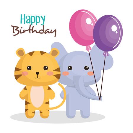 Happy Birthday Card With Tender Animal Vector Illustration Design