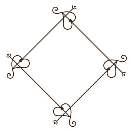 decorative vintage frame in rhombus shape icon over white background. vector illustration