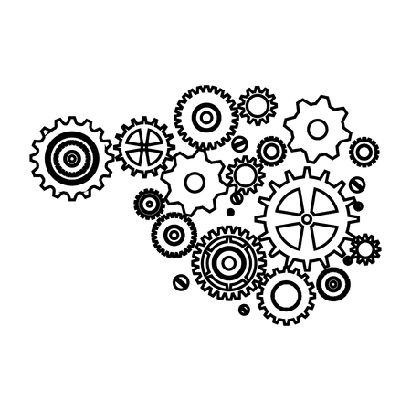 Gears machinery pieces vector illustration design icon