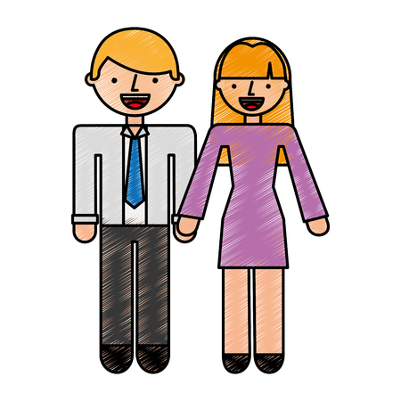 business persons couple avatars characters vector illustration design