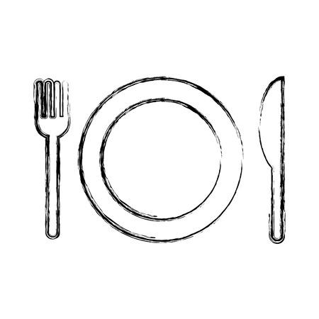 Plato con tenedor y cuchillo aislado icono vector ilustración diseño Foto de archivo - 77515915