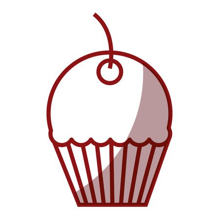 cupcake illustration: A sweet cupcake isolated icon vector illustration design