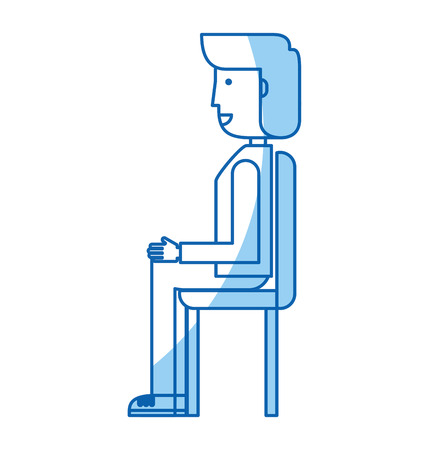 Young seated man avatar character vector illustration design