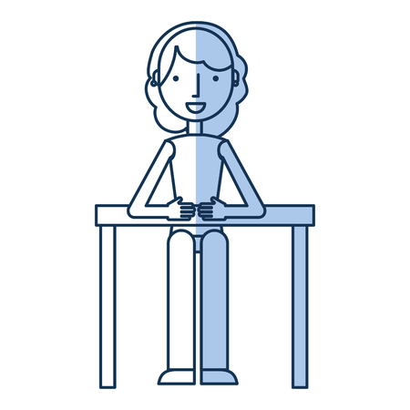 businesswoman in table avatar character icon vector illustration design
