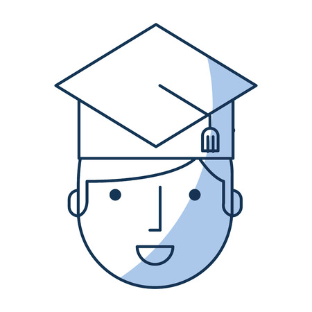student with hat graduation avatar vector illustration design