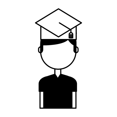 student with hat graduation avatar vector illustration design