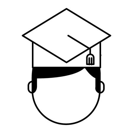 TUdiant avec chapeau graduation avatar vecteur illustration design Banque d'images - 77446486