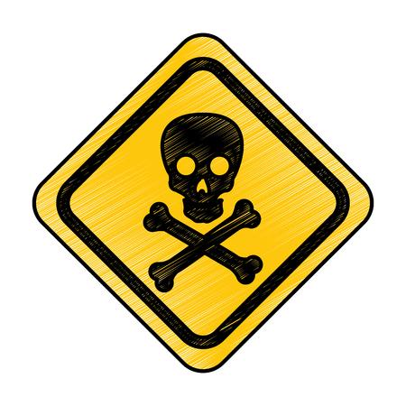 skull danger sign icon vector illustration design Ilustração