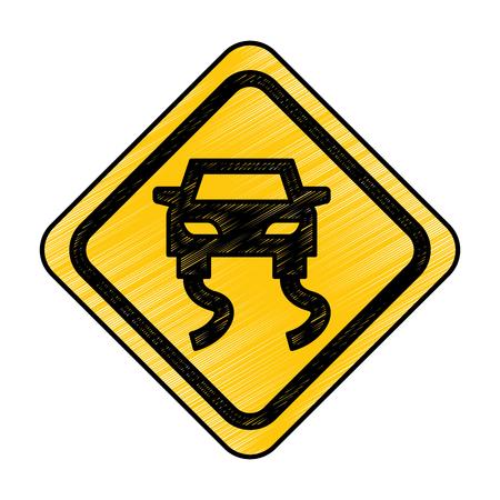 Slippery road traffic signal icon vector illustration design