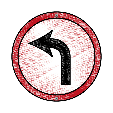 turn left arrow traffic signal icon vector illustration design Ilustração