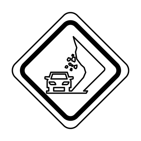 Landslides on the road traffic signal icon vector illustration design