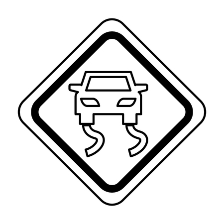 Slippery road traffic signal icon vector illustration design