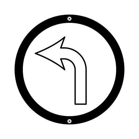 A turn left arrow traffic signal icon vector illustration design