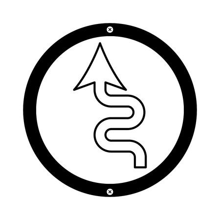 カーブ矢印信号アイコン ベクトル イラスト デザイン  イラスト・ベクター素材