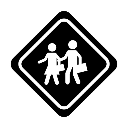 Students on the road traffic signal icon vector illustration design