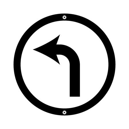 tourner à gauche flèche trafic signal icône vector illustration design