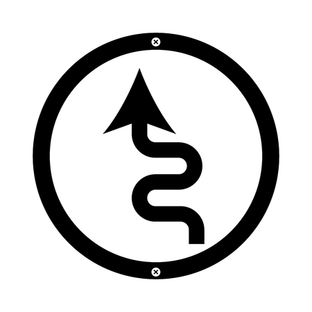 curved road arrow traffic signal icon vector illustration design Illustration