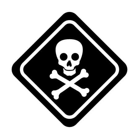 skull danger sign icon vector illustration design Ilustrace