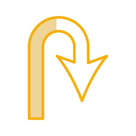 u turn arrow traffic signal icon vector illustration design Illustration