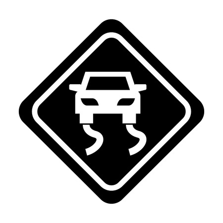 Slippery road traffic signaal icoon vector illustratie ontwerp