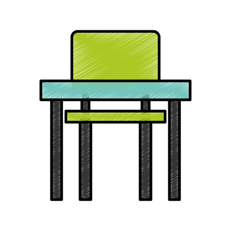 comfort classroom: school chair and desk isolated icon vector illustration design Illustration
