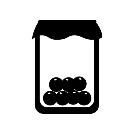 mason jar with cherries isolated icon vector illustration design