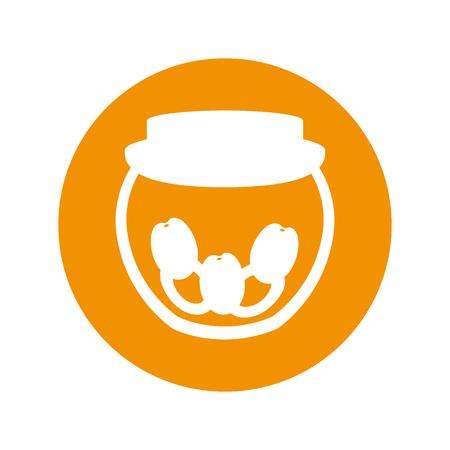 mason: mason jar with cherries isolated icon vector illustration design