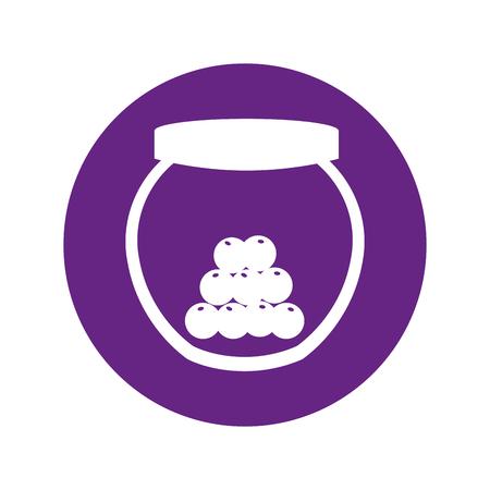 mason jar with cherries isolated icon vector illustration design