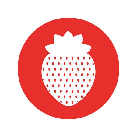 分離されたイチゴの新鮮な果物のアイコン ベクトル イラスト デザイン。