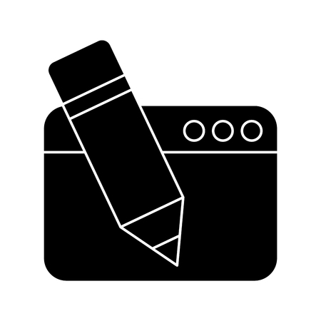 Webpage with pencil isolated icon vector illustration design.