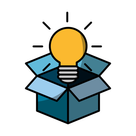 Box with bulb light icon over white background.
