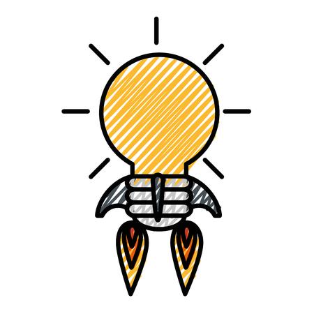 Bulb rocket icon over white background.  イラスト・ベクター素材