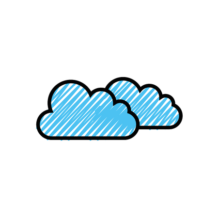 Clouds icon over white background. Illustration