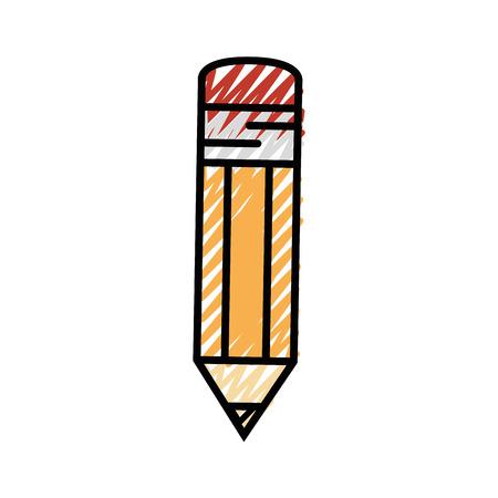 Pencil utensil icon over white background.