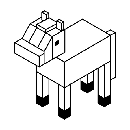 A horse isometric isolated icon vector illustration design