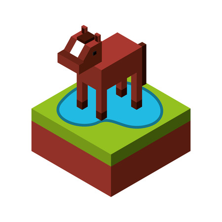 horse with ground isometric isolated icon vector illustration design