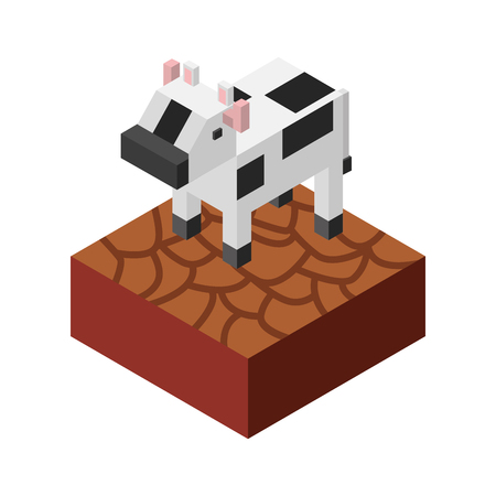 cow with ground isometric isolated icon vector illustration design