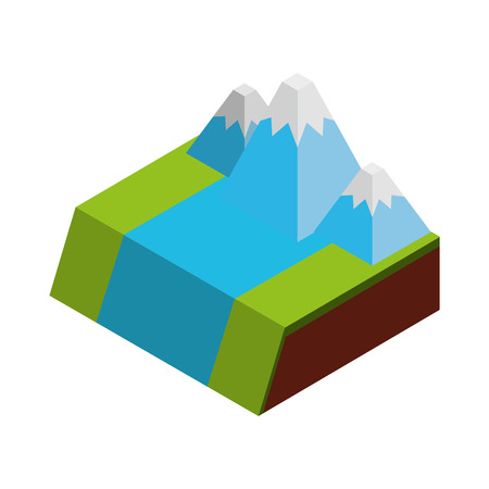 geological: A river terrain isometric icon vector illustration design