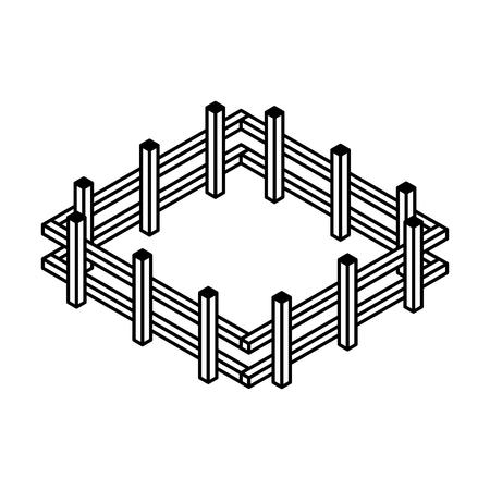 ファーム フェンス等尺性のアイコン ベクトル イラスト デザイン