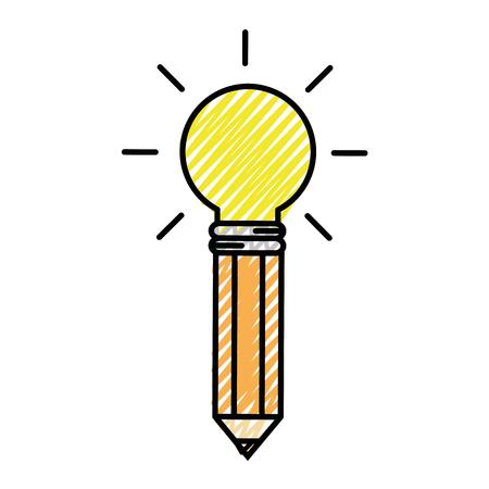 Een potlood met gloeilamp licht pictogram op witte achtergrond. kleurrijk ontwerp. vectorillustratie