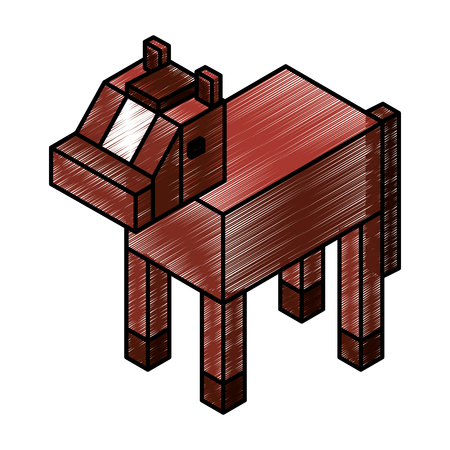 Horse isometric isolated icon vector illustration design.