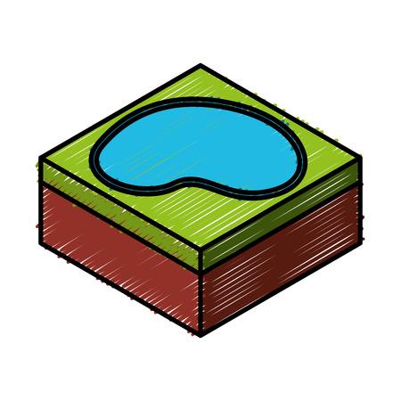 lake terrain isometric icon vector illustration design Ilustração