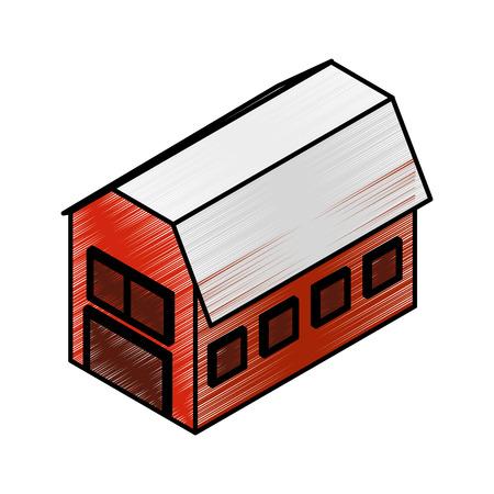 stable farm isometric icon vector illustration design