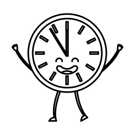 Time clock kawaii character vector illustration design. Ilustração