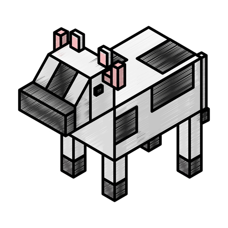 Cow isometric isolated icon vector illustration design.