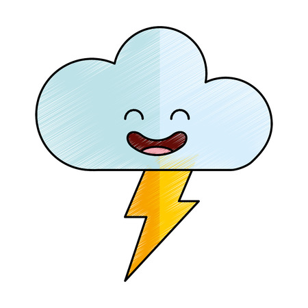Cloud with ray climate kawaii character vector illustration design. Illustration