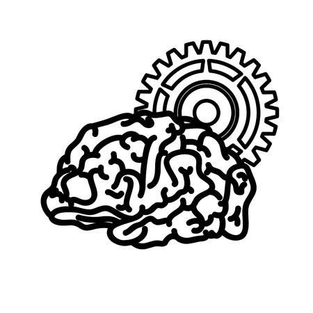 Human brain symbol icon vector illustration graphic design