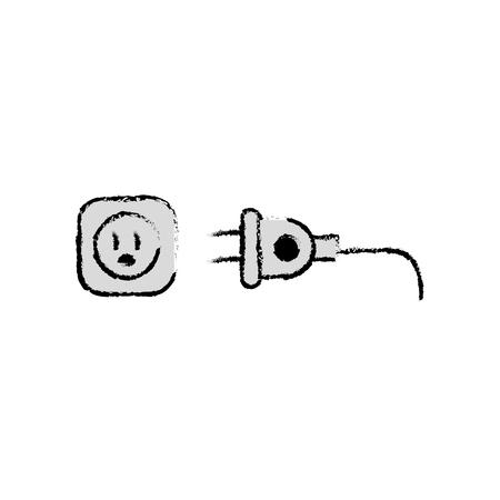 흰색 배경 위에 전기 플러그 아이콘입니다. 벡터 일러스트 레이 션