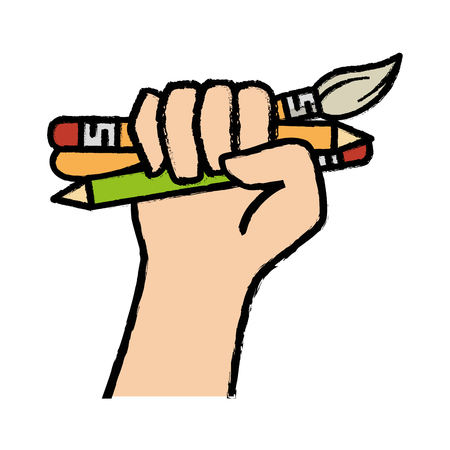 hand holding a write utensils icon over white background. colorful design. vector illustration