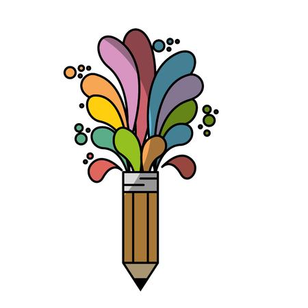 creative pencil  icon over white background. colorful design.  vector illustration